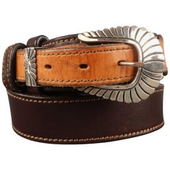 PAT AREIAS Sterling Size 34 Brown Two Tone Leather Belt