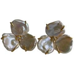 Cultured Keshi Pearls Flowers Earrings on 925 Vermeil Omega Clasp