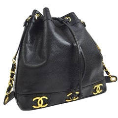 Chanel Black Leather Caviar Gold Charm Logo Bucket Shoulder Bag