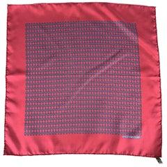HERMES Chainlink Burgundy Silk Pocket Square