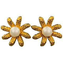CHANEL Vintage Gold Tone Faux Pearl Flower Clip On Earrings