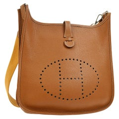"Hermes Cognac Leather Canvas ""H"" Logo Men's Women's Crossbody Shoulder Bag"