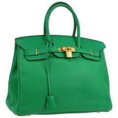 Hermes Birkin 35 Apple Green Leather Gold Carryall Top Handle Satchel Tote
