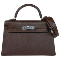 Hermes Kelly 20 Bi-Color Sellier Bag Havane / Etrusque Chevre Palladium