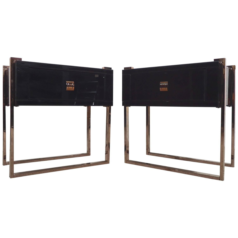 Glass Bedside Table : Horseman Antiques Inc. / Exquisite Black Glass Bedside Tables