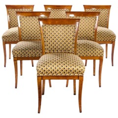 Set of Six Biedermeier Fruitwood Dining Chairs
