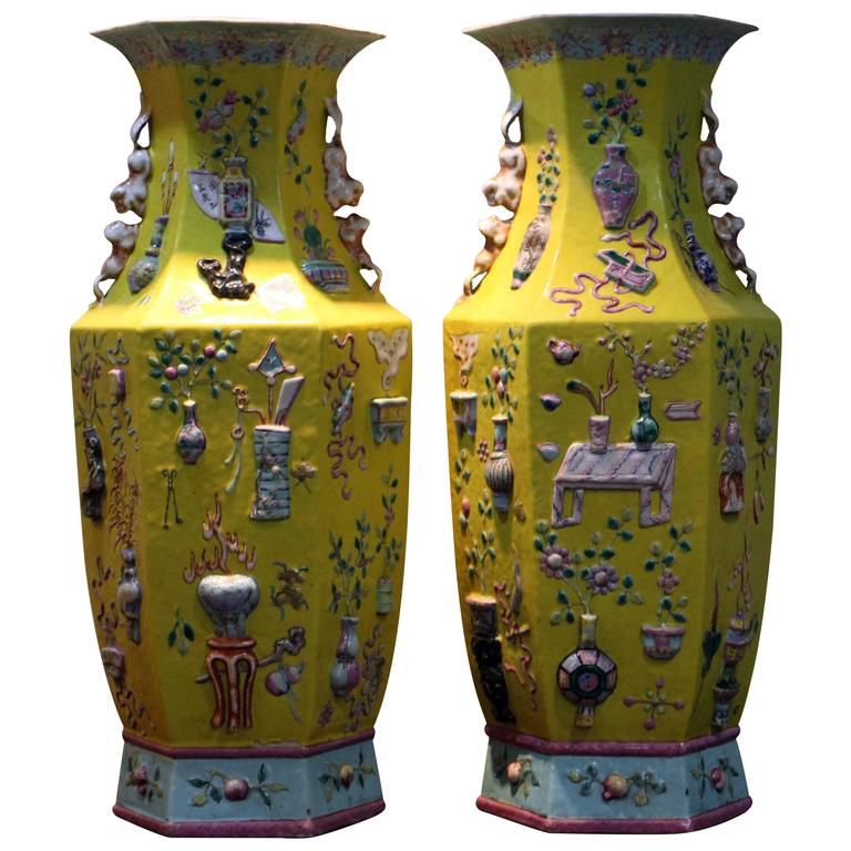 Pair Of Antique Chinese Yellow Ground Precious Things Vases At