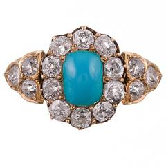Victorian Turquoise and Old European Cut Diamond Cluster Ring