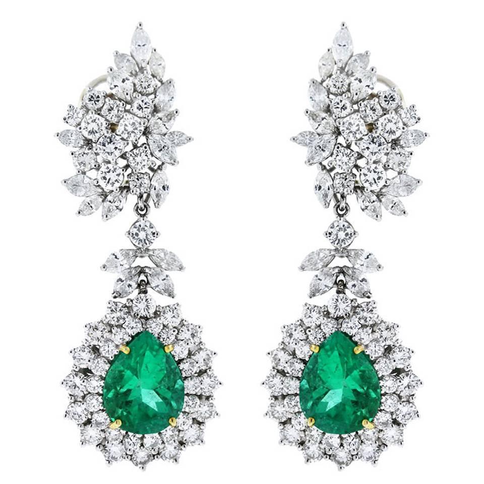 Four Stone Emerald Diamond Engagement Ring in Platinum