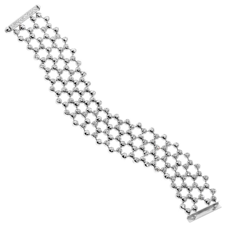 Cartier Diamond Gold Multistrand Tennis Bracelet For Sale