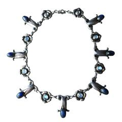 Georg Jensen Labradorite Moonstone Sterling Silver Necklace No. 7