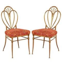 Set of 2 1960s Chiavari Brass Chairs