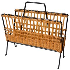 French Rattan Magazine Rack