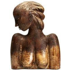 Large Continental Sculptural Pottery Bust, 20th Century