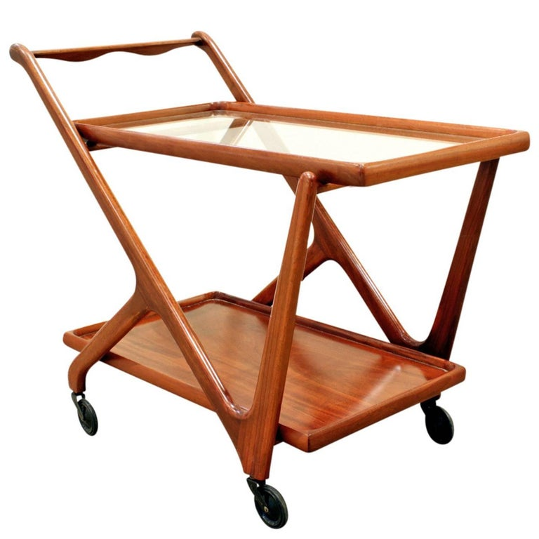 Cesare Lacca Elegant Rolling Cart with Glass Top, 1970s For Sale