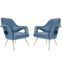 Pair of Italian Modern Lounge Chairs in Blue Vinyl