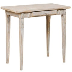 Swedish Period Gustavian, 19th Century Painted Wood Side Table with Drawer