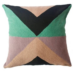 Zimbabwe West Winter Hand Embroidered Modern Geometric Throw Pillow Cover