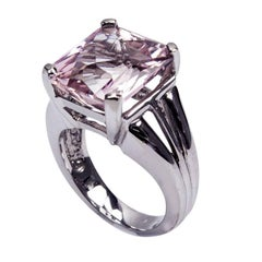11 Carat Kunzite Gold Solitaire Ring Estate Fine Jewelry