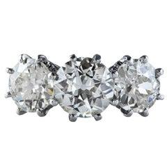 Antique Three Stone Diamond Platinum Ring