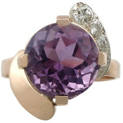 Vintage 1950s 4.92 Carat Amethyst and Diamond Rose Gold Twist Ring