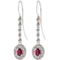 Kian Design 18 Carat White Gold 0.86 Carat Oval Ruby and Diamond Dangle Earrings