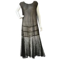 "1920s Chiffon Drop Waist ""Flapper"" Dress with Black Lace"
