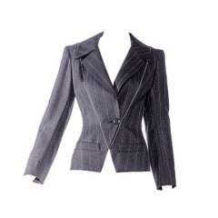 1990s ALAIA Black and Grey Pin striped Fitted Jacket Blazer