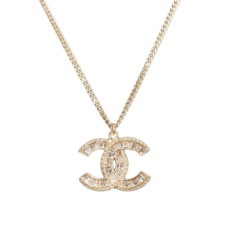 Chanel Swarovski Crystal Logo Pendant Necklace At Stdibs