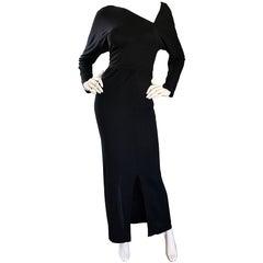 Halston 1970s Black Jersey Asymmetrical 70s Vintage Dolman Sleeve Sexy Gown