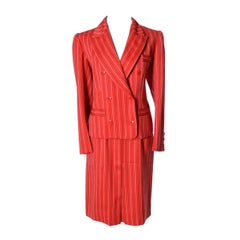 Yves Saint Laurent Rive Gauche YSL Vintage Red Pinstripe Skirt & Jacket Suit