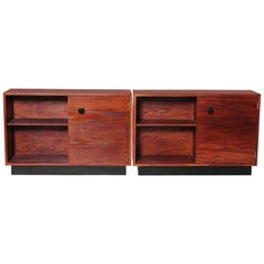 Machine Age Art Deco Gilbert Rohde Signed Smart Set Pair Cabinets for Kroehler