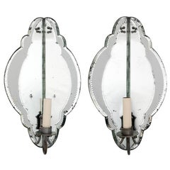 Pair of French Mirrored Corner Sconces with Shaped Glass Panels