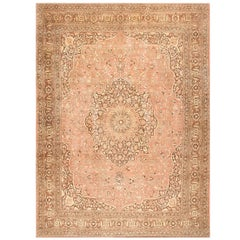Dusty Rose Antique Persian Tabriz Rug. Size: 12 ft 9 in x 17 ft