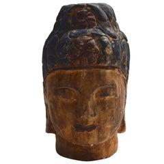 Massive Polychrome Buddha Head