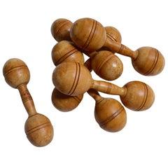 Set of Vintage Wooden Dumbbells