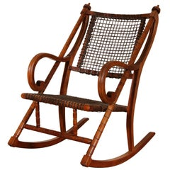 Rare George Hunzinger Rocking Chair with Patented Steel Webbing, 1869