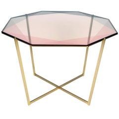 Gem Octagonal Dining Table / Pink, Brass
