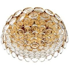 Palwa Flush Mount Light Fixture, Gilt Brass Glass