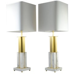 Pair of Calacatta Marble Table Lamps