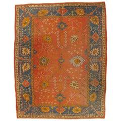 Antique Oushak Carpet, Oriental Rug, Handmade Orangey Coral, Ivory and Saffron