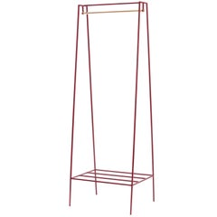 'A' Clothes Rail in Beetroot with a Brass Pole
