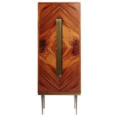 """DEVA"" Contemporary Wood with Brass Details fully Handmade Bar"