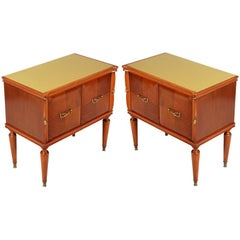 Midcentury Nightstands Bedside Tables Gio Ponti Style Walnut and Walnut Applied