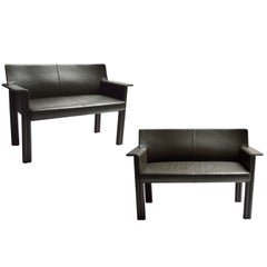 Pair of Tobia Scarpa Leather Settees