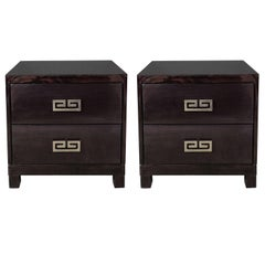 Pair of Mid-Century Ebonized Greek-Key Nightstands/End Tables w/ Greek Key Pulls
