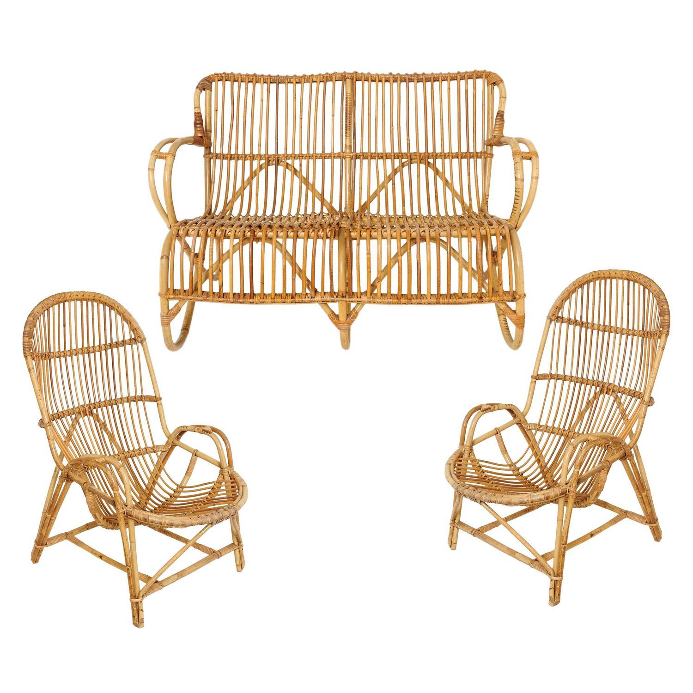 Bamboo settee, armchairs and magazine rack, 1960s