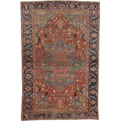 Antique Persian Heriz Carpet, Handmade Wool Oriental Rug, Rust, Navy, Light Blue