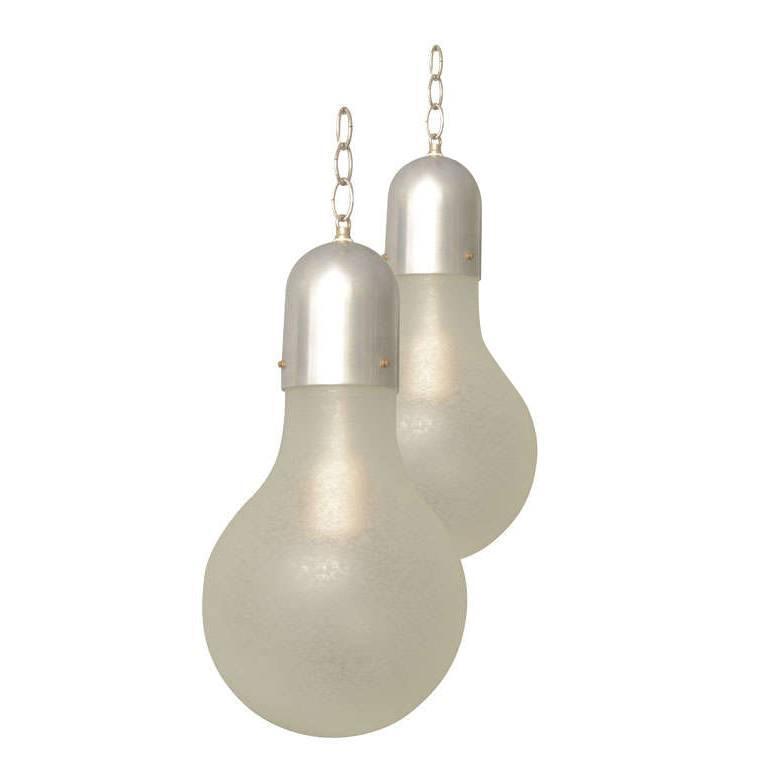 Italian lightbulb-shaped pendants, 1960s
