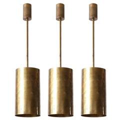 Set of Three Pendant Lights, Patinated Brass, 1970